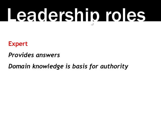 Leadership roles Expert Provides answers Domain knowledge is basis for authority