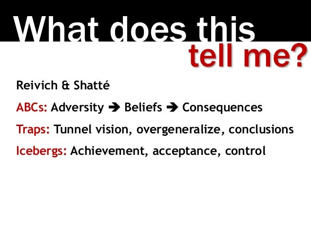 What does this Reivich & Shatté ABCs: Adversity  Beliefs  Consequences Traps: Tunnel vision, overgeneralize, conclusions...
