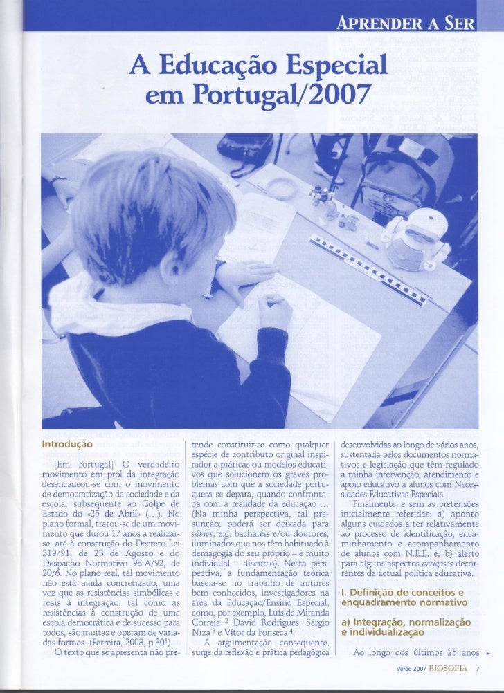 Azevedo, A. M. (2007). A Educação Especial em Portugal/2007.