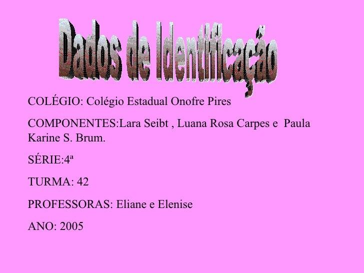 Dados de Identificação COLÉGIO: Colégio Estadual Onofre Pires COMPONENTES:Lara Seibt , Luana Rosa Carpes e  Paula Karine S...