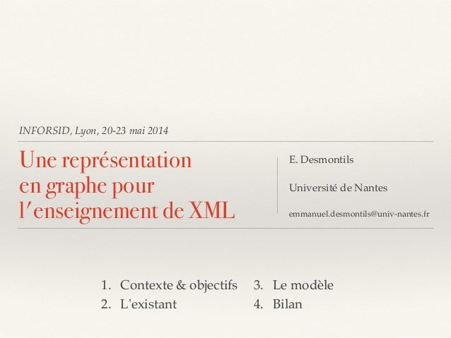 INFORSID, Lyon, 20-23 mai 2014 Une représentation en graphe pour l'enseignement de XML E. Desmontils!  Université de Nan...