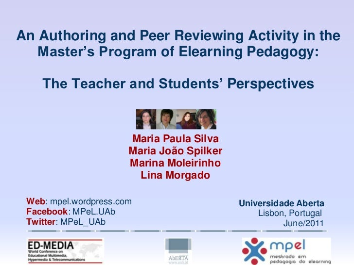 An Authoring and Peer Reviewing Activity in theMaster's Program of Elearning Pedagogy:The Teacher and Students' Perspectiv...
