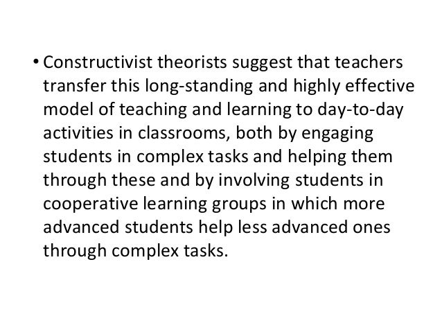 explain the constructivist theory of guidance Discussion have been suggested: an explanation of  teachers are crucial in  their roles of giving guidance  theories of constructivism would suggest different.