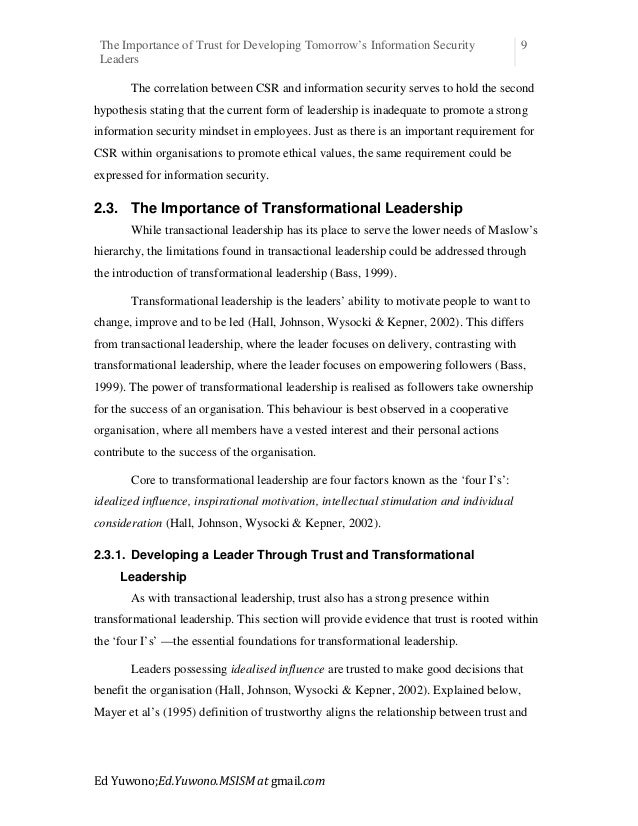 the importance of trust in leadership essay The importance of leadership in managing change take control of difficult and angry customer situations: save time, stress don't let difficult, angry customers control you learn to take control, stay cool, and remain professional in the toughest situations if it wasn't for the customers i'd really like this job: the book.