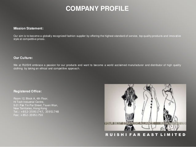 clothing design and manufacturing company the garment company limited