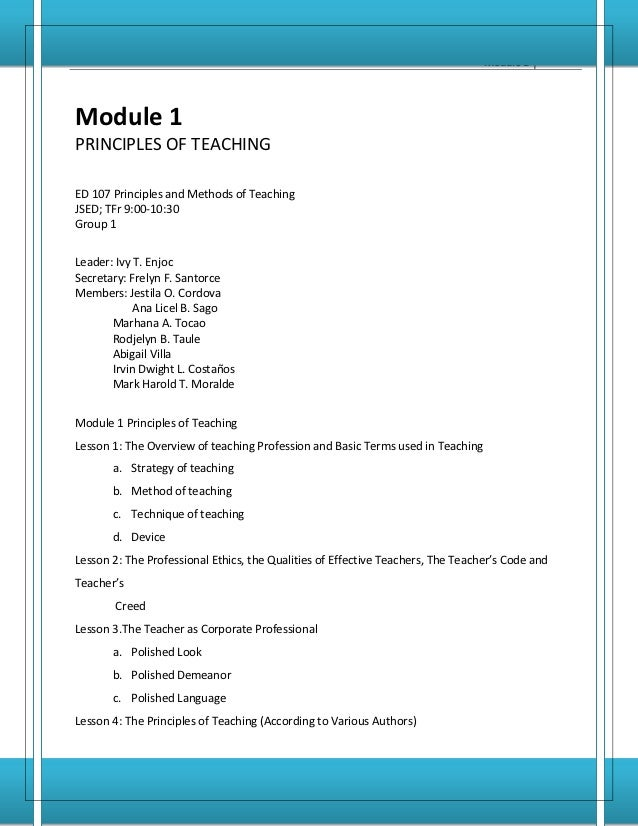 Principles and Methods of Teaching         1                                                                              ...