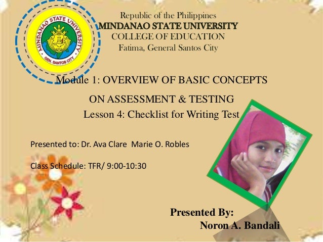 Republic of the Philippines MINDANAO STATE UNIVERSITY COLLEGE OF EDUCATION Fatima, General Santos City  Module 1: OVERVIEW...