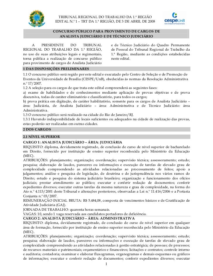 TRIBUNAL REGIONAL DO TRABALHO DA 1.ª REGIÃO                    EDITAL N.º 1 – TRT DA 1.ª REGIÃO, DE 3 DE ABRIL DE 2008    ...