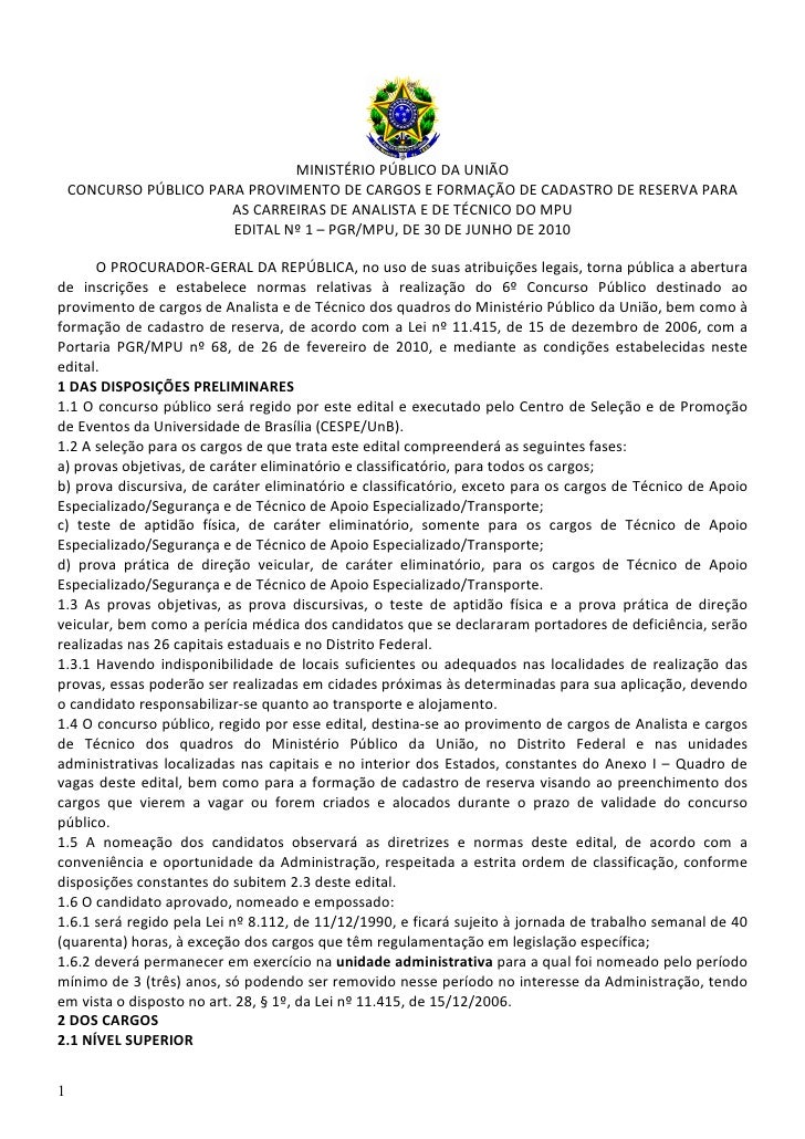 MINISTÉRIO PÚBLICO DA UNIÃO     CONCURSO PÚBLICO PARA PROVIMENTO DE CARGOS E FORMAÇÃO DE CADASTRO DE RESERVA PARA         ...