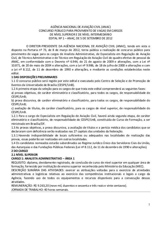 1 AGÊNCIA NACIONAL DE AVIAÇÃO CIVIL (ANAC) CONCURSO PÚBLICO PARA PROVIMENTO DE VAGAS EM CARGOS DE NÍVEL SUPERIOR E DE NÍVE...