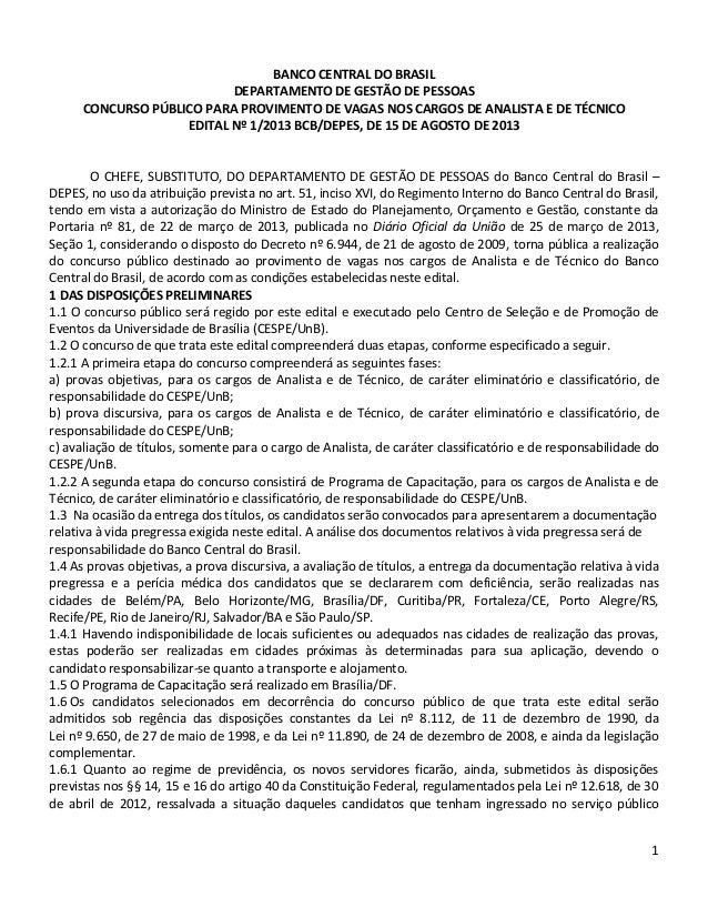 1 BANCO CENTRAL DO BRASIL DEPARTAMENTO DE GESTÃO DE PESSOAS CONCURSO PÚBLICO PARA PROVIMENTO DE VAGAS NOS CARGOS DE ANALIS...