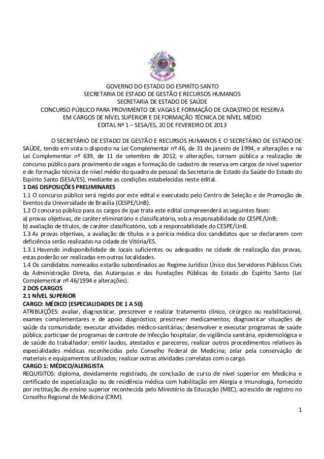 1 GOVERNO DO ESTADO DO ESPIRÍTO SANTO SECRETARIA DE ESTADO DE GESTÃO E RECURSOS HUMANOS SECRETARIA DE ESTADO DE SAÚDE CONC...