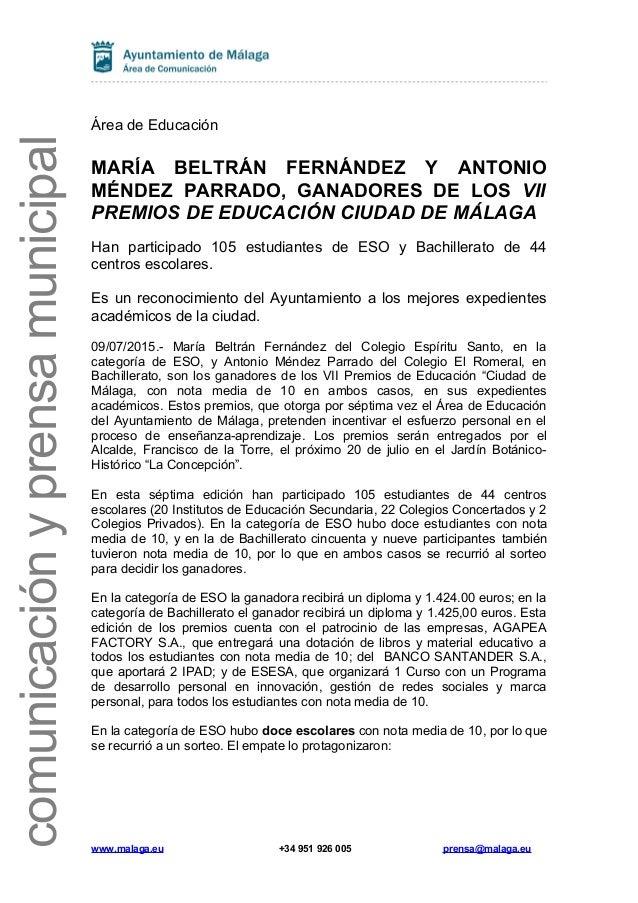 comunicaciónyprensamunicipal Área de Educación MARÍA BELTRÁN FERNÁNDEZ Y ANTONIO MÉNDEZ PARRADO, GANADORES DE LOS VII PREM...