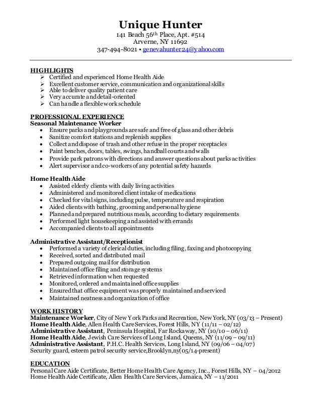 Unique Hunter Resume