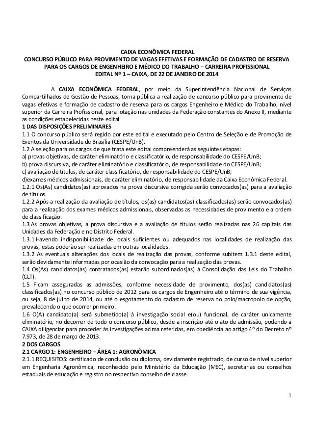 EDITAL CONCURSO CAIXA 2014 - ENGENHEIROS E MÉDICOS DO TRABALHO