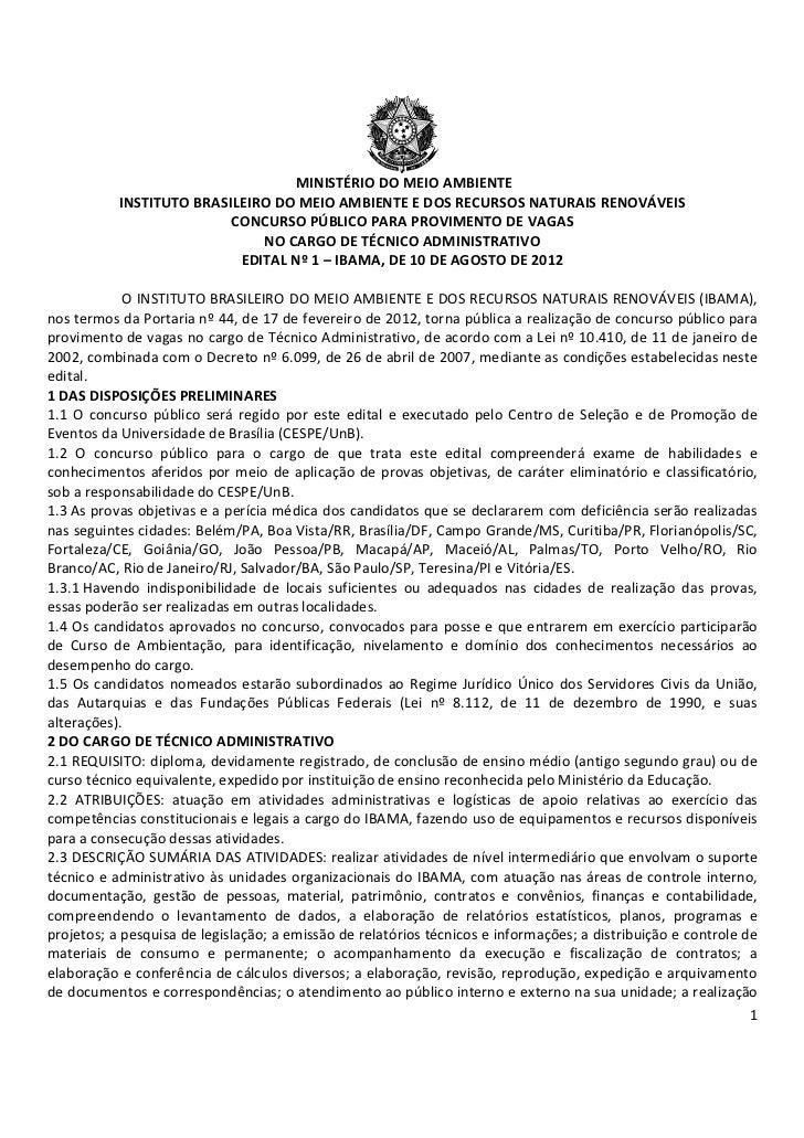 MINISTÉRIO DO MEIO AMBIENTE           INSTITUTO BRASILEIRO DO MEIO AMBIENTE E DOS RECURSOS NATURAIS RENOVÁVEIS            ...