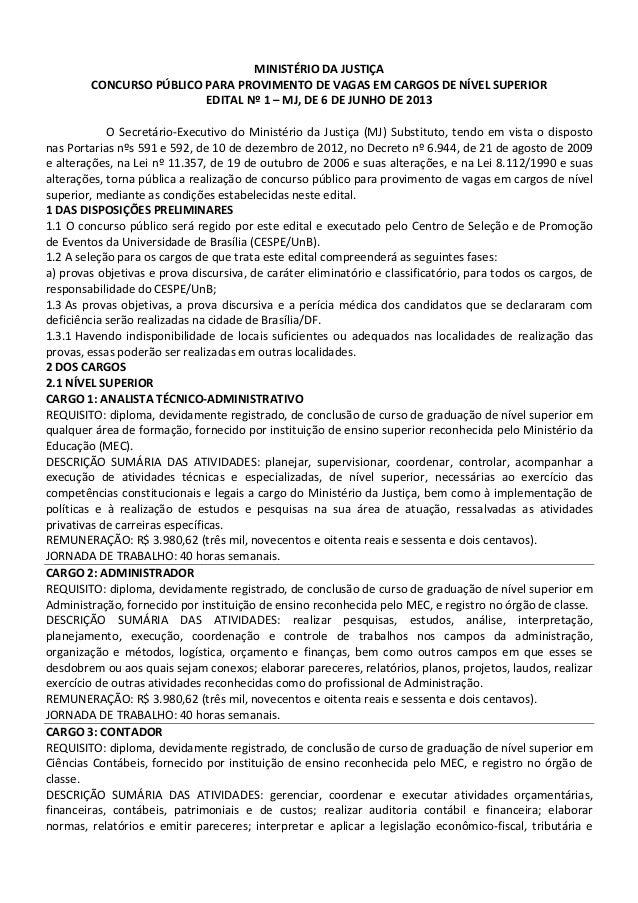 Edital concurso Ministério da Justiça 2013