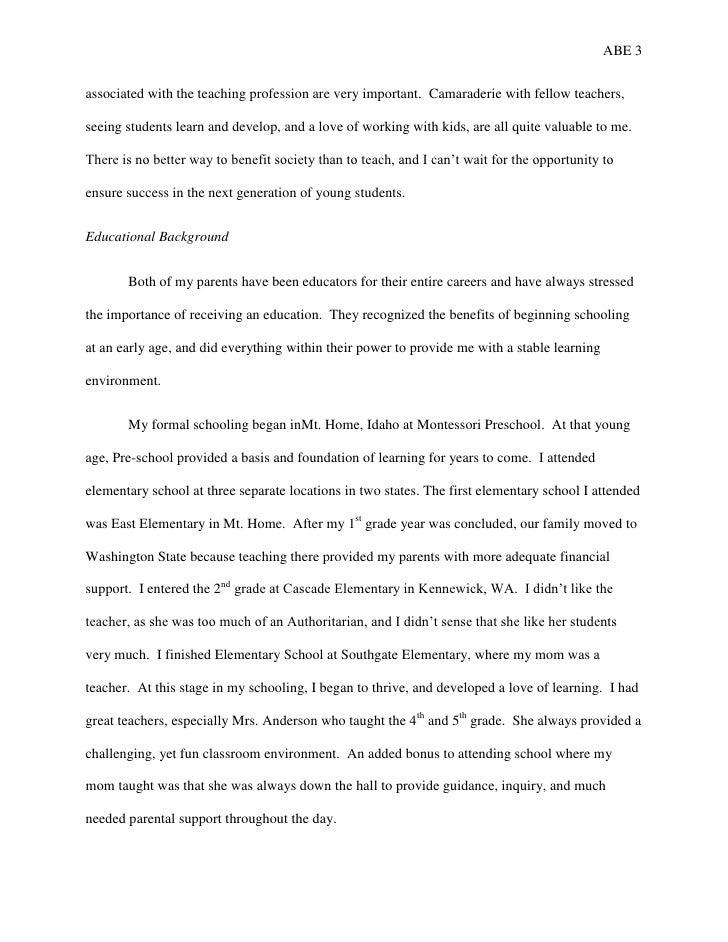 Autobiographical Essay