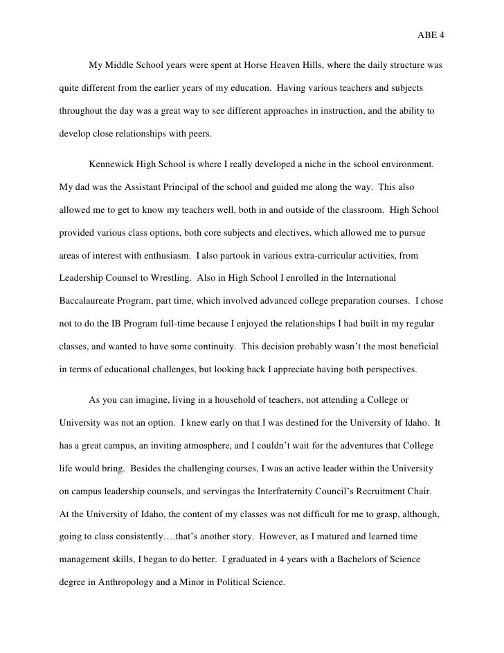 College Sample Autobiography Essays Examples Aprildearest