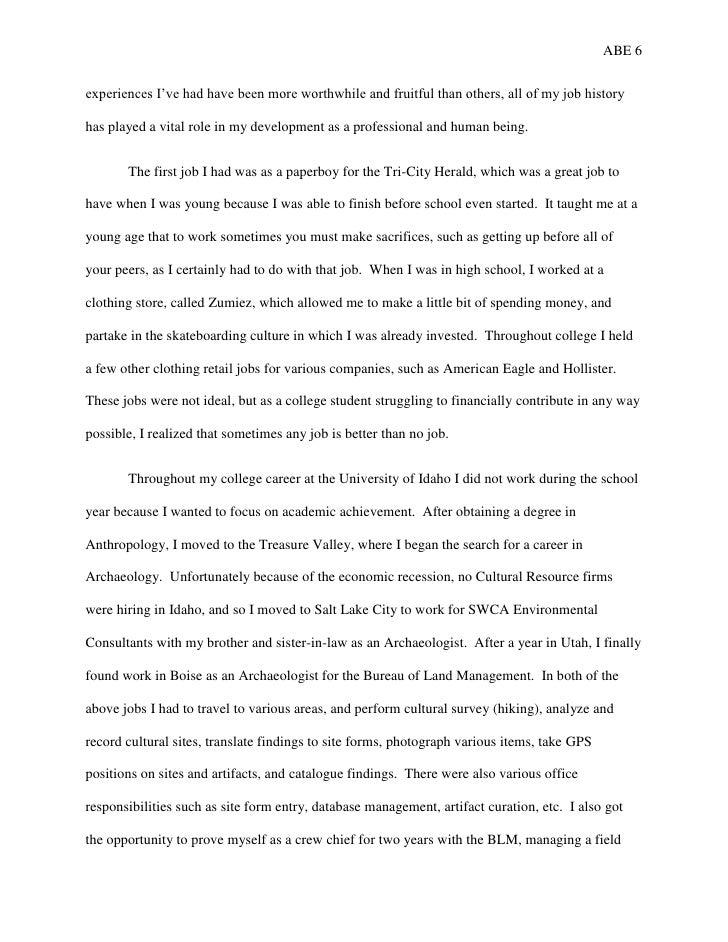 autobiographical essay although some job 6
