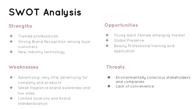 swot analysis sephora As we talk now about strategy i'd like to talk especially about swot analysis in sephora first of all, one of sephora's key.