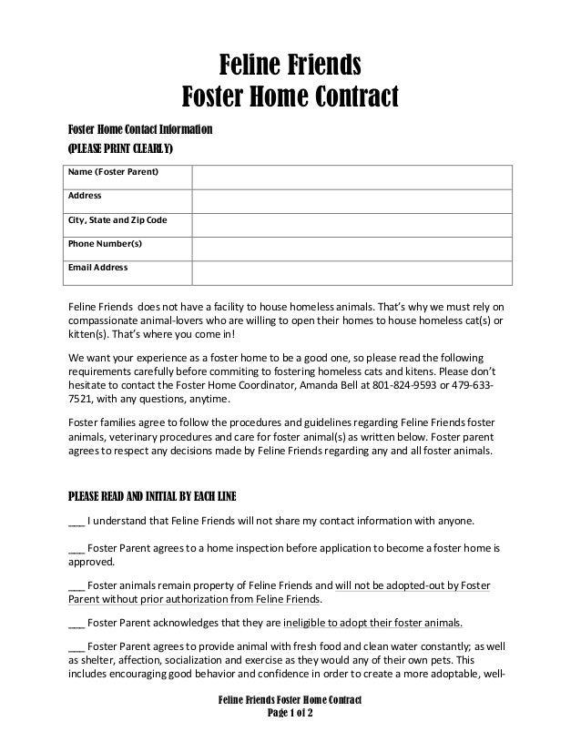 Feline friends foster home contract feline friends foster home contract page 1 of 2 feline friends foster home contract foster home thecheapjerseys Images
