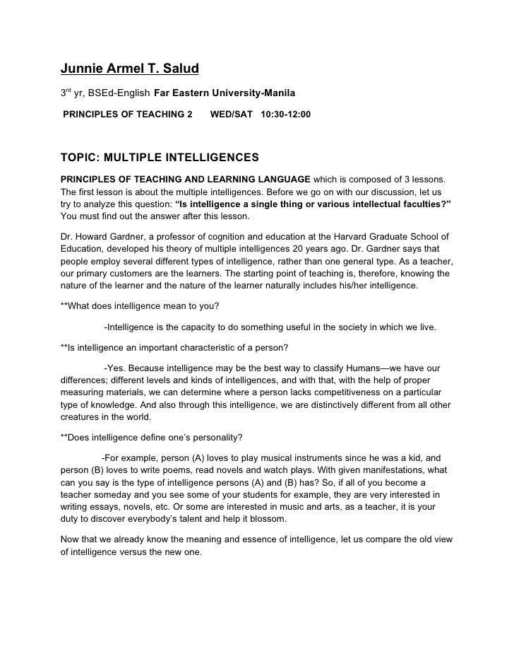 graphic relating to Howard Gardner Multiple Intelligences Test Printable referred to as Basic principles OF Coaching: Several Intelligences