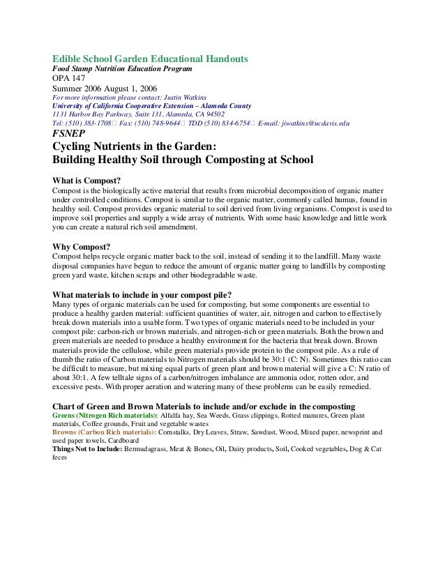 Edible School Garden Educational Handouts Food Stamp Nutrition Education Program OPA 147 Summer 2006 August 1, 2006 For mo...