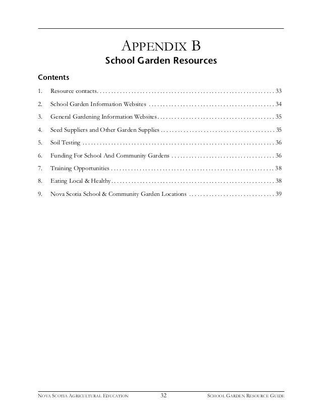Subject Outcomes Activity SCHOOL GARDEN RESOURCE GUIDENOVA SCOTIA  AGRICULTURAL EDUCATION; 33.