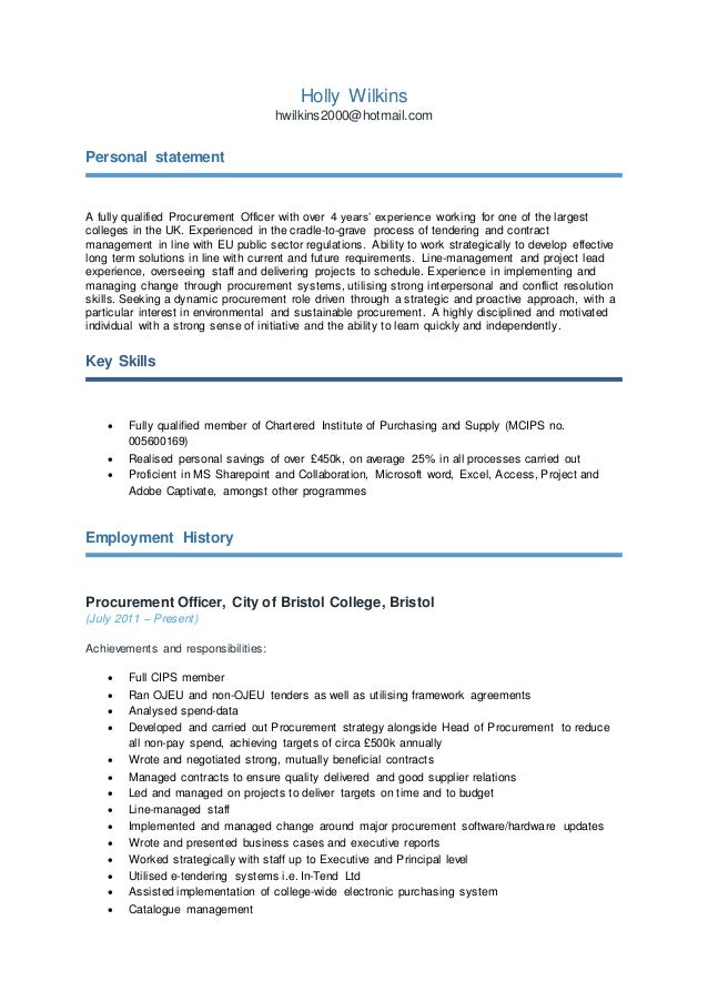 Holly Wilkin Cv2 Personal Statement For Procurement Officer