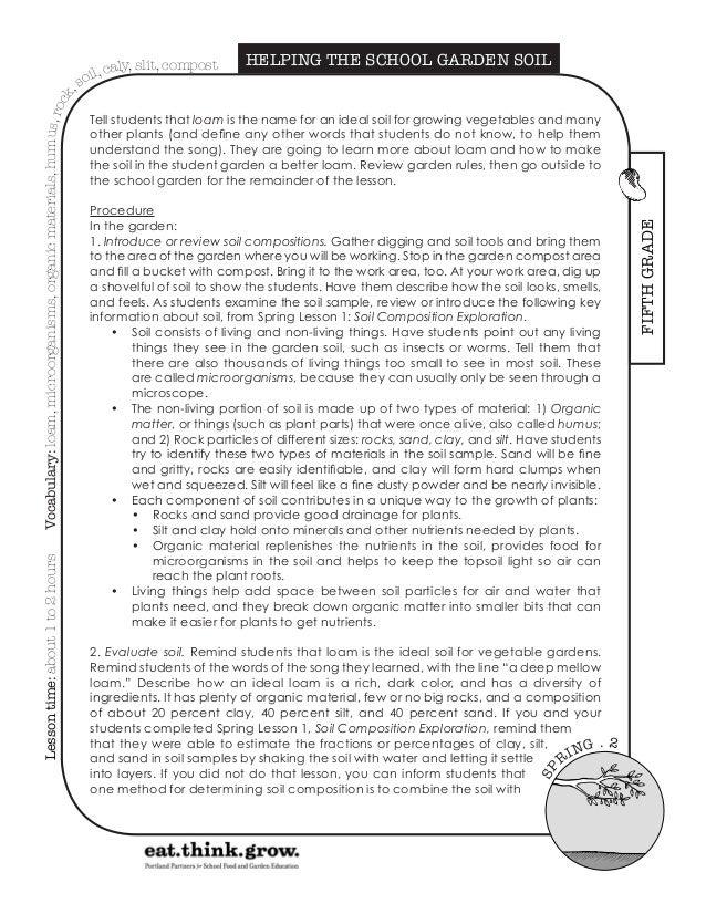 School gardening soil composition exploration for Soil composition