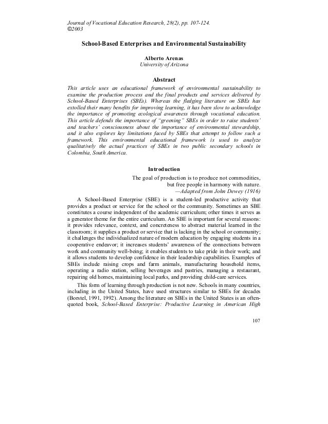 107 Journal of Vocational Education Research, 28(2), pp. 107-124. ©2003 School-Based Enterprises and Environmental Sustain...