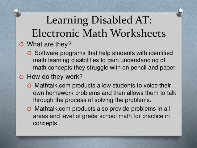 Ed505 Assistive Technology – Electronic Math Worksheets