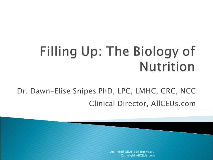 Dr. Dawn-Elise Snipes PhD, LPC, LMHC, CRC, NCC Clinical Director, AllCEUs.com Unlimited CEUs $99 per year.  Copyright AllC...