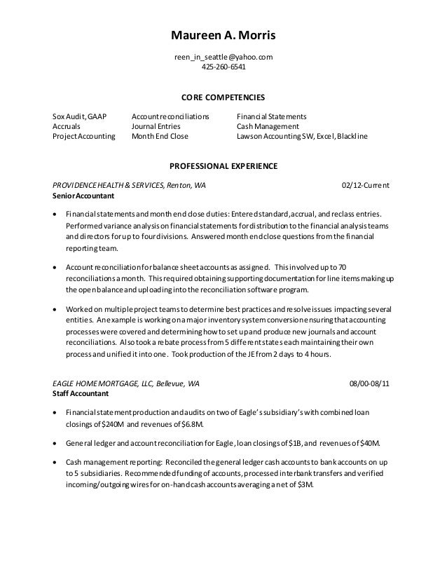 Sr Accountant Resume Morris