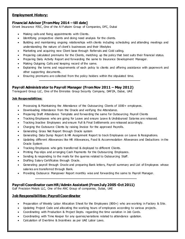 Payroll Coordinator Job Description  Resume Template Sample