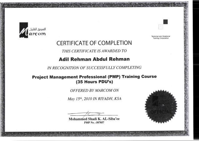 Certificate Of Completion, PMP Training Course  Certificate Of Completion Training
