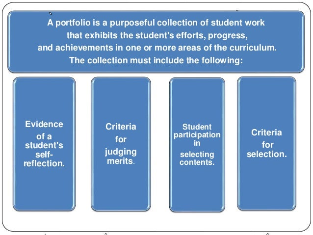 A portfolio is a purposeful collection of student work  that exhibits the student's efforts, progress,  and achievements i...
