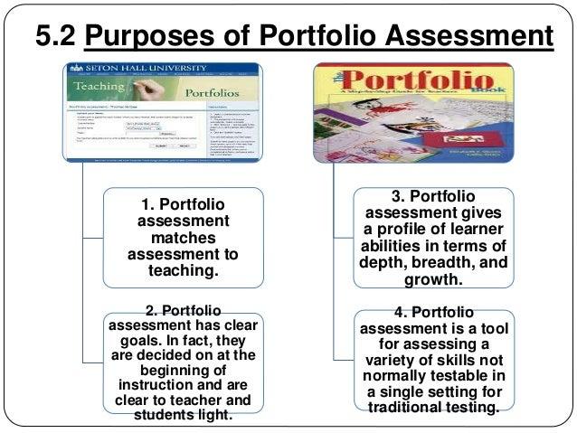 5.2 Purposes of Portfolio Assessment  1. Portfolio  assessment  matches  assessment to  teaching.  2. Portfolio  assessmen...