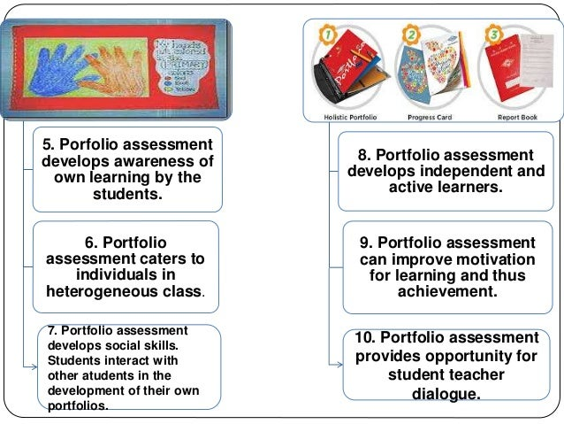 5. Porfolio assessment  develops awareness of  own learning by the  students.  6. Portfolio  assessment caters to  individ...