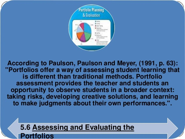 """According to Paulson, Paulson and Meyer, (1991, p. 63):  """"Portfolios offer a way of assessing student learning that  is di..."""