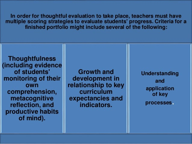 In order for thoughtful evaluation to take place, teachers must have  multiple scoring strategies to evaluate students' pr...