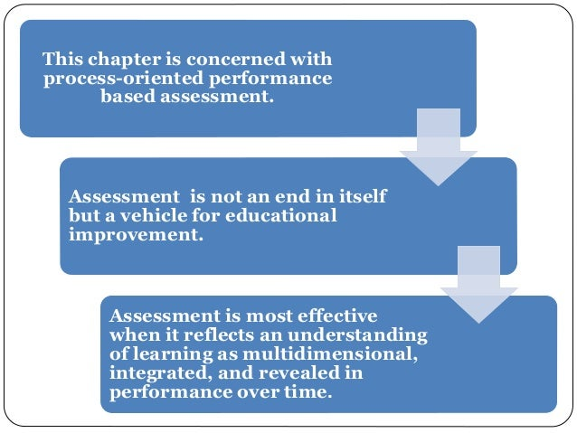 This chapter is concerned with  process-oriented performance  based assessment.  Assessment is not an end in itself  but a...