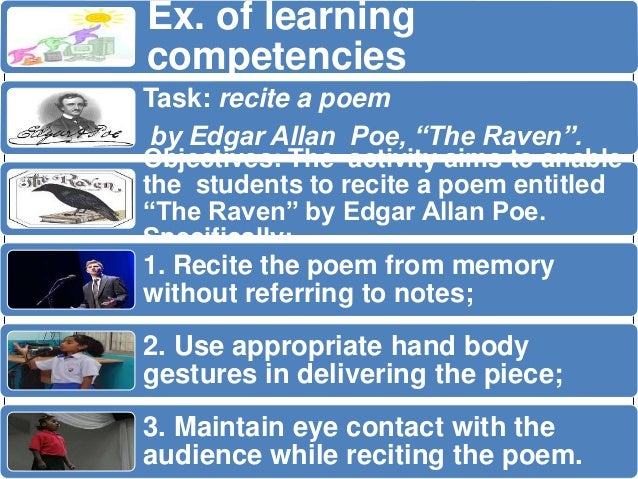 """Ex. of learning  competencies  Task: recite a poem  by Edgar Allan Poe, """"The Raven"""".  Objectives: The activity aims to ana..."""