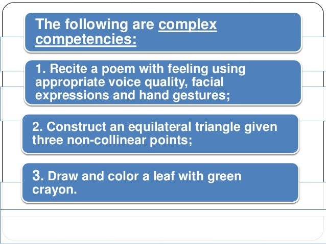 The following are complex  competencies:  1. Recite a poem with feeling using  appropriate voice quality, facial  expressi...
