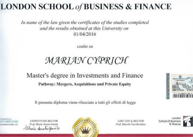 M.Sc. Finance & Investment (London School of Business & Finance)