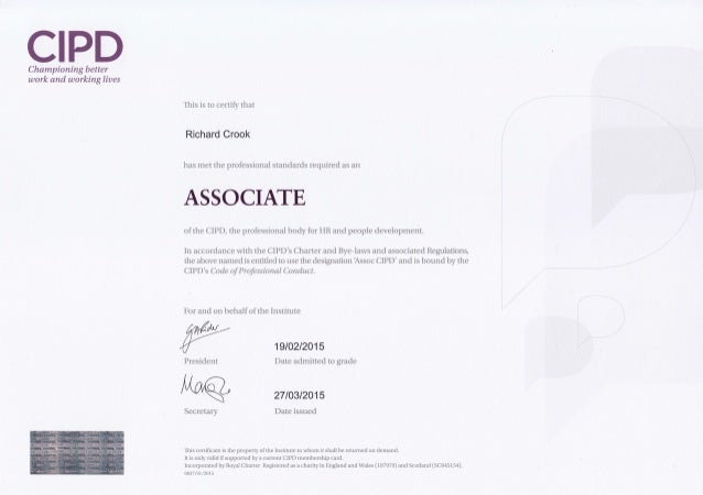 cipd level 5 dpp Context of one of the cipd level 3 foundation, level 5 intermediate or level 7  advanced qualifications or other rqf qualification towards the achievement.