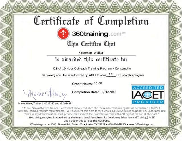 Printcertificate osha 10 certificate for Osha 10 certificate template