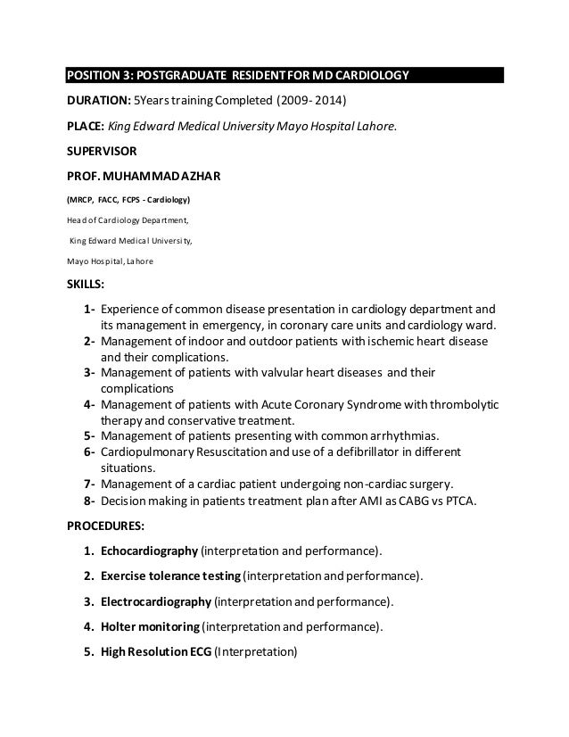 4 cardiologist resume