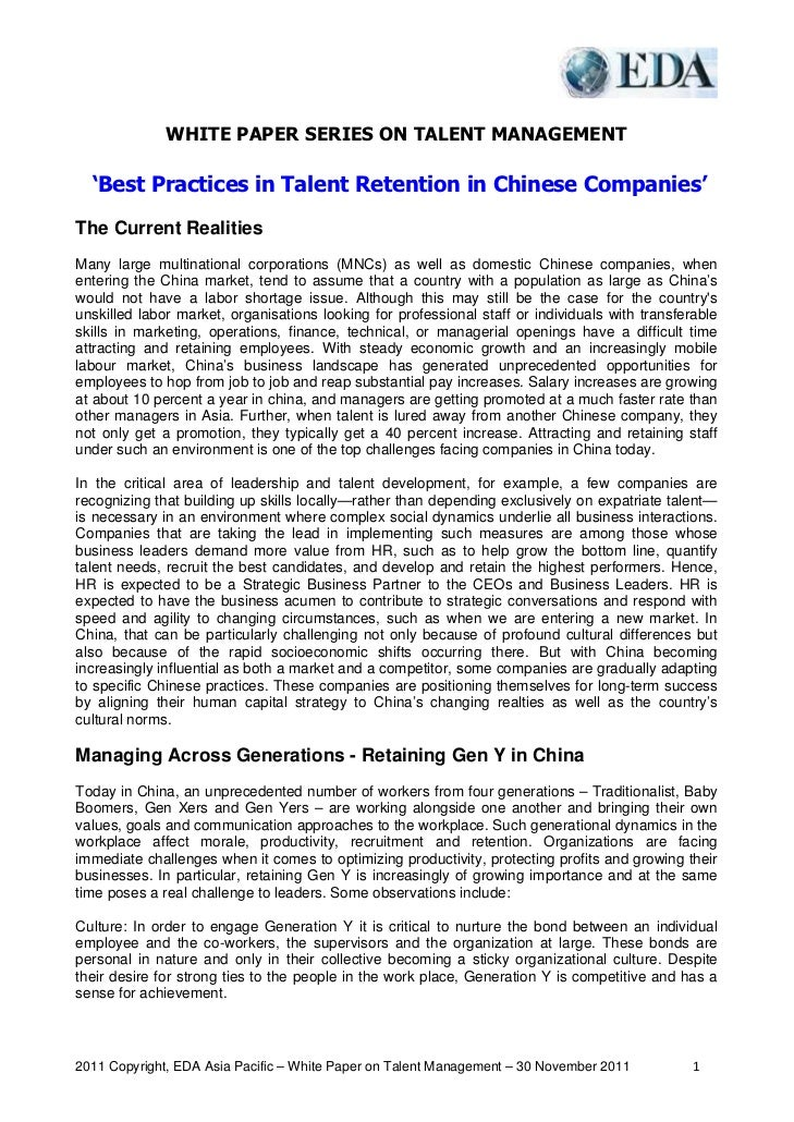 WHITE PAPER SERIES ON TALENT MANAGEMENT  'Best Practices in Talent Retention in Chinese Companies'The Current RealitiesMan...